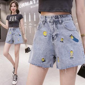 實拍刺繡辛普森牛仔短褲女2021夏季新版韓版高腰顯瘦毛邊闊腿熱褲