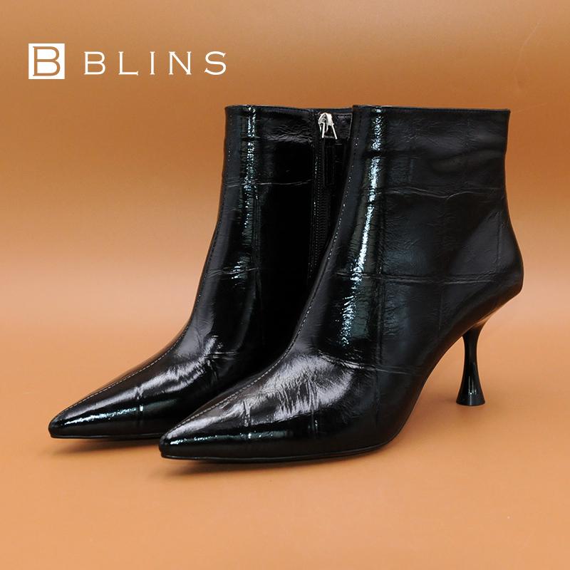 blins佰丽莱秋冬新品时尚性感细高跟尖头短靴石头纹金属牛皮女鞋