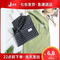韩版围裙家用厨房可爱日系女棉麻透气时尚防水防油定制工作服印字
