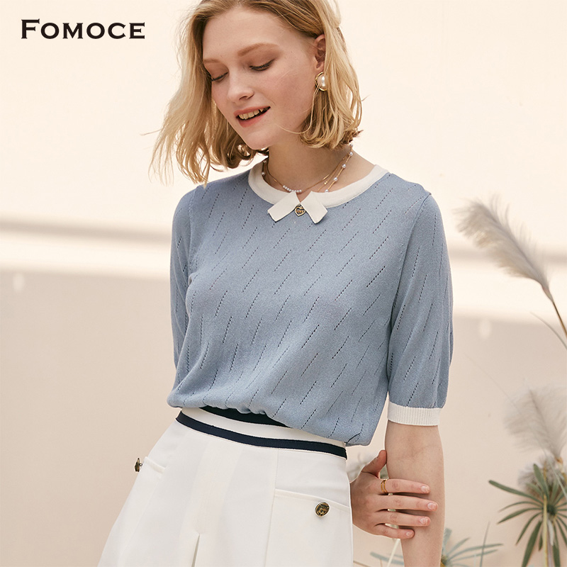[new product in summer 2020] famans color matching collar with slant raindrop cut out 5 / 4 sleeve lightweight T-shirt for women