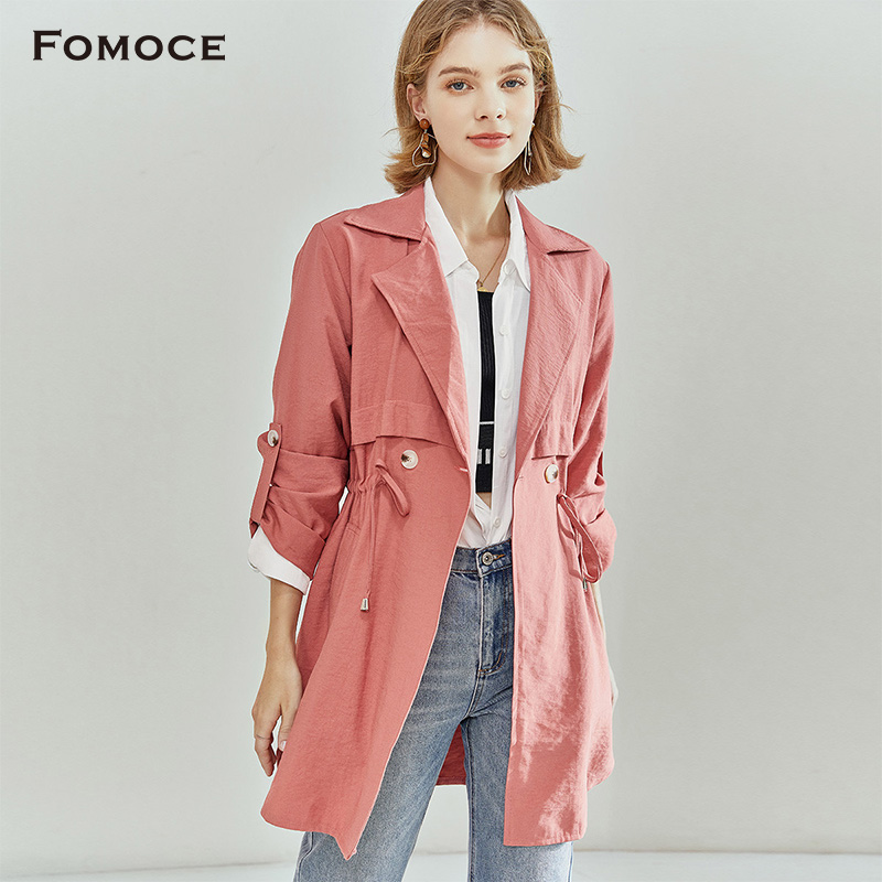 [fashion and frankness] new fall 2020 flat Lapel drawstring double breasted medium long windbreaker coat