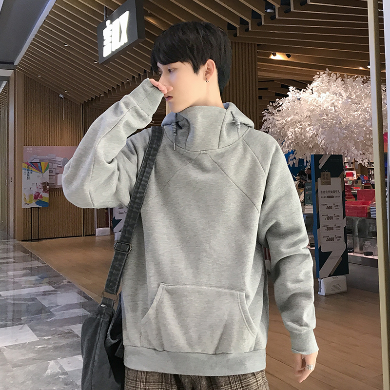 Hong Kong Style ins mens sweater autumn and winter hooded high collar Pullover