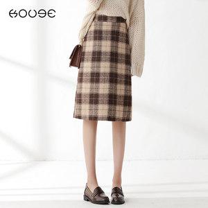 格子毛呢半身裙秋季女中长款2019高腰包臀裙a型秋冬呢子格子裙