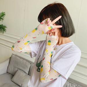 新款防晒手袖护臂冰丝手套泫雅风冰爽袖开车可爱水果薄款手臂套夏