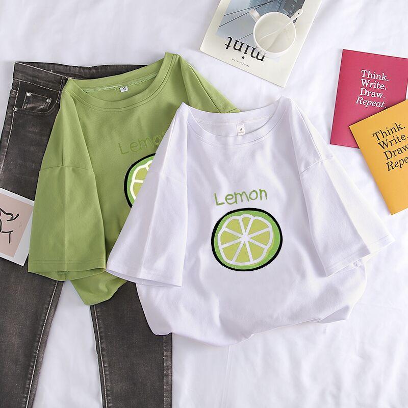 2021年新款夏季宽松牛油果绿短袖t恤女纯棉韩版半袖白色上衣ins潮