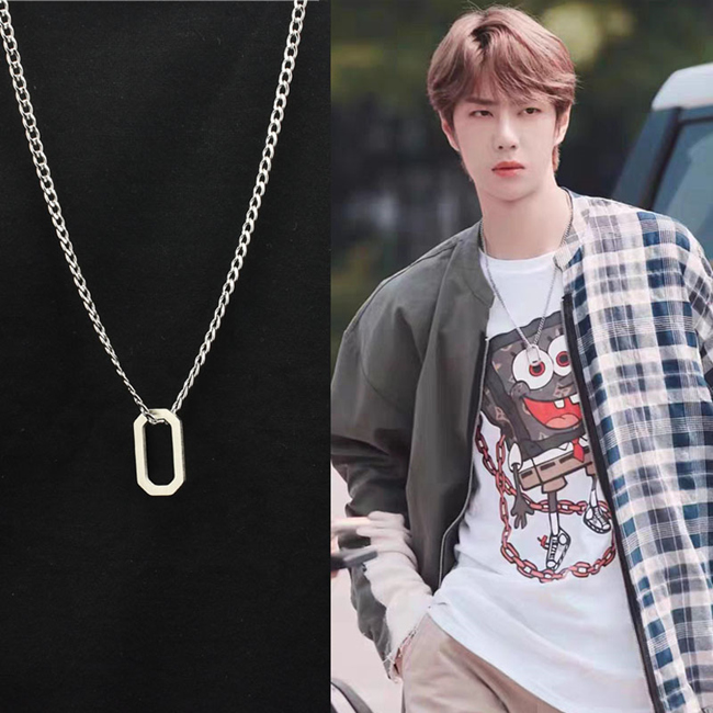 Wang Yibo same necklace hip hop bungee personality versatile geometric Box Pendant yuansuo fashion mens and womens Necklace