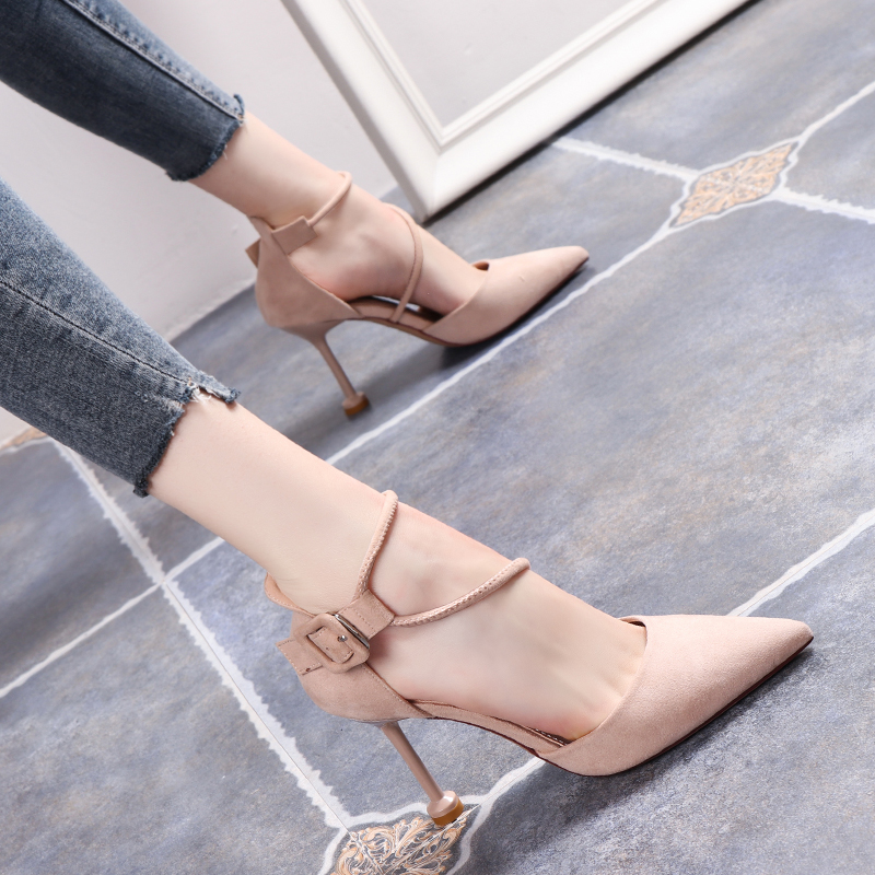 Little fresh French girls high-heeled shoes womens thin heel pointed ankle strap one word buckle 2020 new hollow single shoes