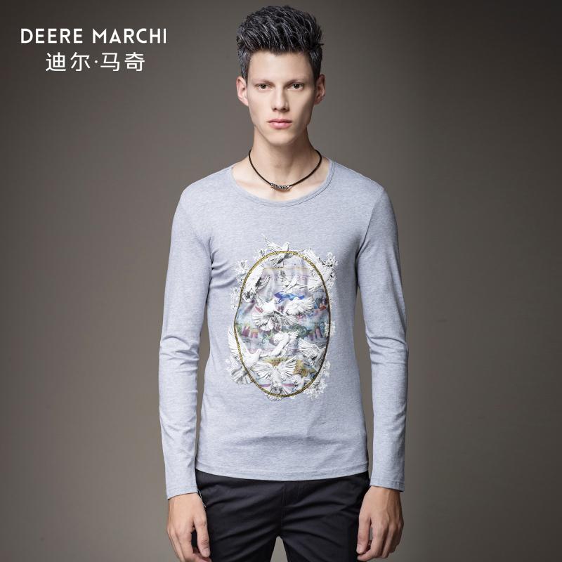 迪尔马奇秋装新款男士圆领长袖T恤 和平鸽印花打底衫潮M07612
