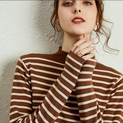 韩版秋冬新款羊绒衫女半高领套头毛衣羊毛修身条纹显瘦打底针织衫