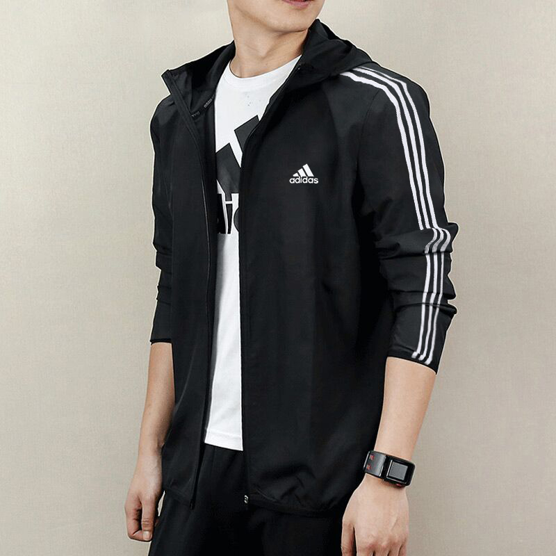 Adidas adidas coat male 2021 spring and autumn new windbreaker hooded jacket sportswear top