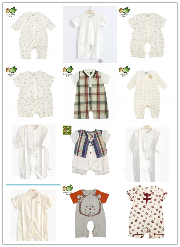 Rabbi infant summer clothes 0-1 year old baby flat corner climbing clothes mens and womens baby thin short sleeve Jumpsuit