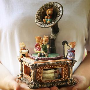 復古留聲機音樂盒老鼠八音盒女孩公主聖誕節生日禮物送女生友閨蜜