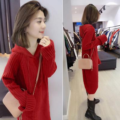 欧洲站秋冬装女2020新款欧货韩版红色宽松气质中长款厚针织连衣裙