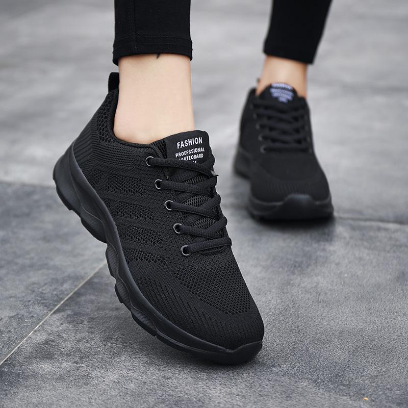 春秋季运动鞋2021女款跑步鞋百搭飞织透气休闲鞋女士韩版旅游鞋子