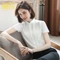 雪纺女短袖2021夏季新款小领白衬衫