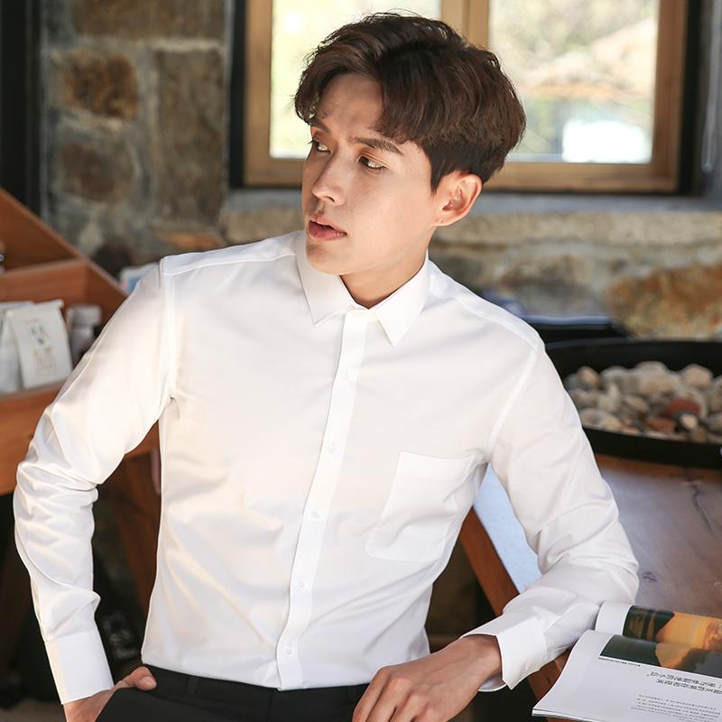 白衬衫男长袖韩版职业商务正装潮流西装寸衫帅气上班男士衬衣秋季89.00元包邮