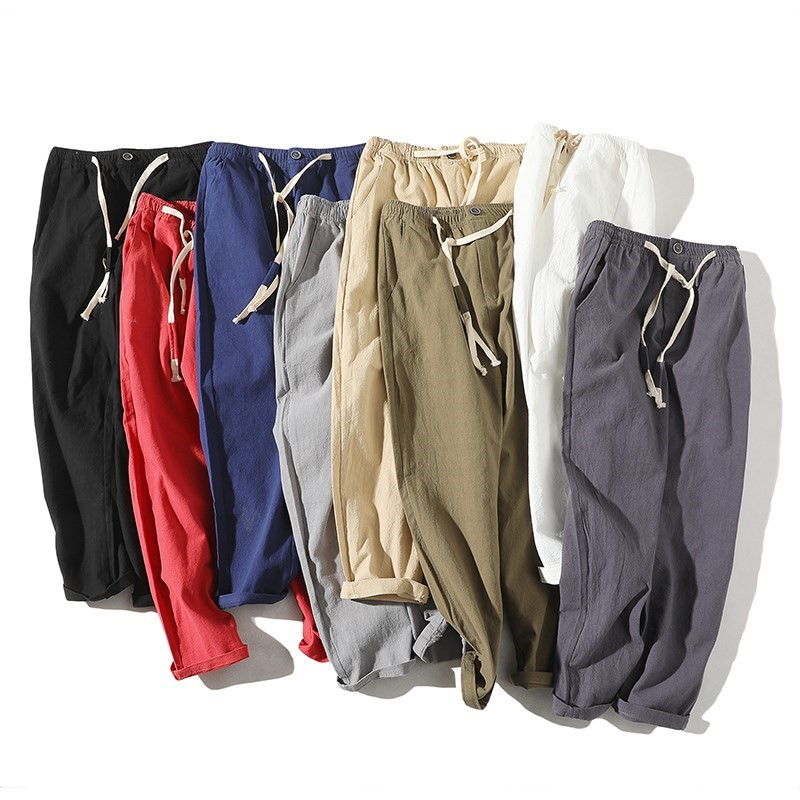 Summer linen casual pants mens loose cotton linen mens pants Chinese Style Mens linen material suit work pants thin pants