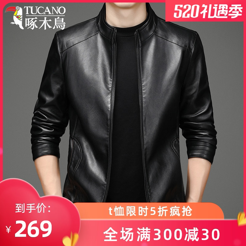 Woodpecker spring leather jacket men's thin jacket spring and autumn new leather jacket middle-aged casual jacket men's motorcycle clothing