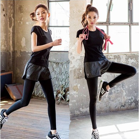 Korean fake two-piece sports pants running fitness yoga clothes quick drying pants tight large summer Capris women