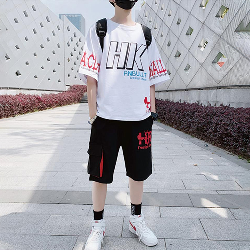 Summer children's short sleeve suit boys' junior and senior high school students' sportswear T-shirt loose and handsome trend teenagers