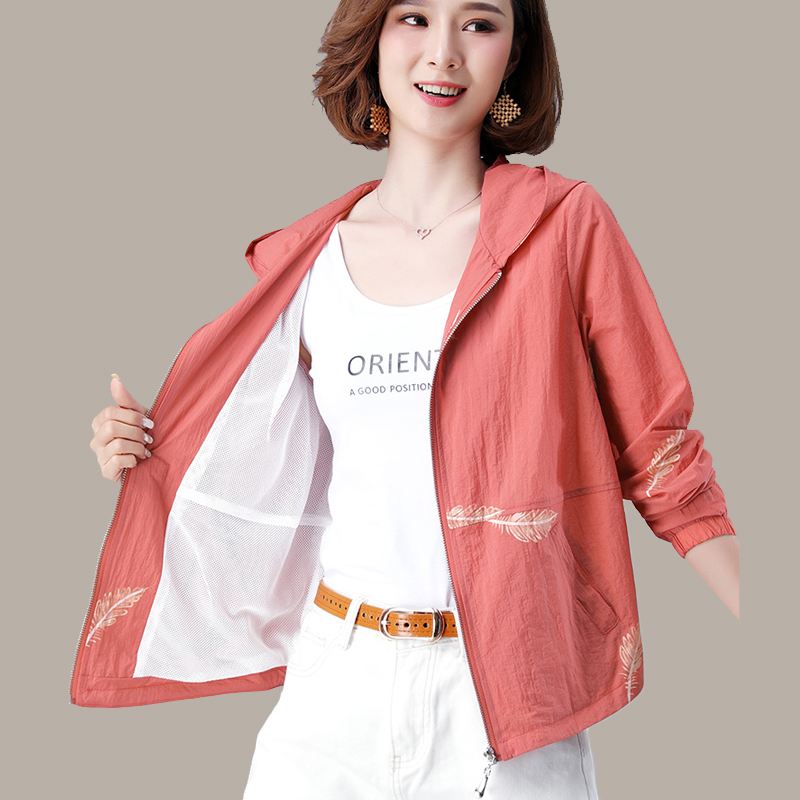 Mothers sun proof clothes thin double layer printed short coat small womens mesh breathable, middle-aged and elderly wear in summer