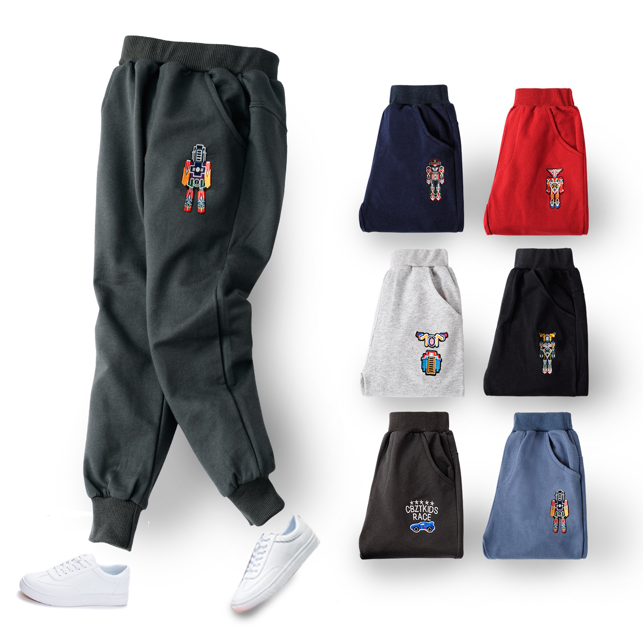 Childrens pants, boys sports pants, spring and autumn childrens wear, new knitted pants, middle school childrens casual pants, cotton baby pants