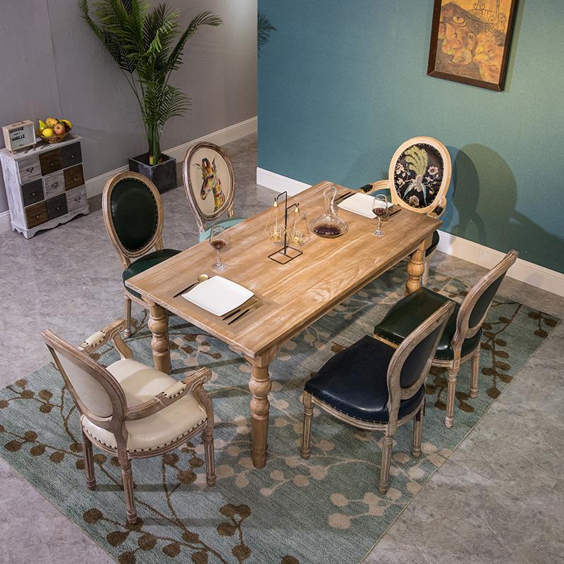 复古实木餐桌松木桌子做旧桌茶几办公家具酒店宴会桌椅摄影道具