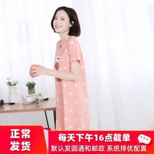 夏天粉色纯棉睡裙女夏可爱卡通全棉少女睡衣韩版学生短袖家居服女