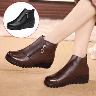 女鞋2019秋冬短靴百搭加绒后拉链粗跟靴子内增高
