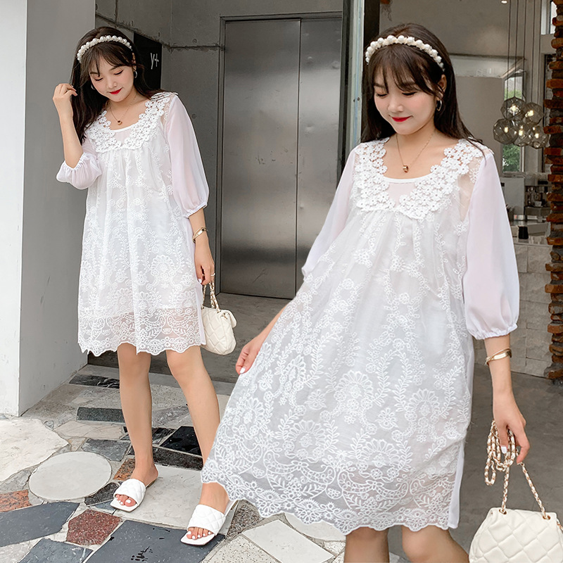 2020 new Shorts Set womens summer solid color Chiffon large Korean sweet loose fat mm dress