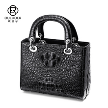 Olol's new imported Crocodile Skin Diaofei White True Leather Handbag with one shoulder and sloping branded lady's bag in 2019