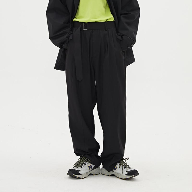 WASSUP2019秋季新品国潮牌复古潮流压皱休闲西裤纯色西装腰带长裤