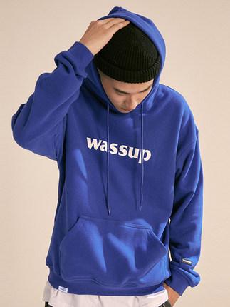 WASSUP潮牌潮流秋冬季宝蓝纯色棉外套印花logo连帽宽松套头卫衣