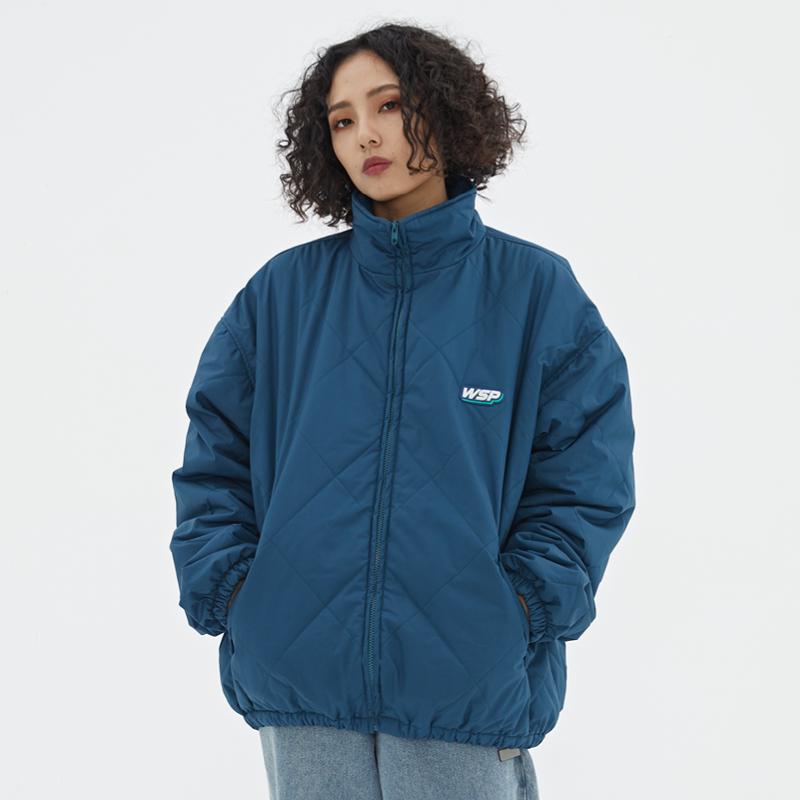 WASSUP棉服衣菱形格防风加厚防水宽松外套男女装新款翻高领秋冬季
