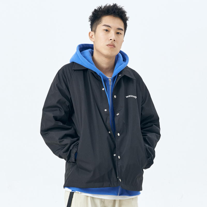 WASSUP coach jacket men's jacket lapel solid color waterproof all-match jacket casual loose official flagship store