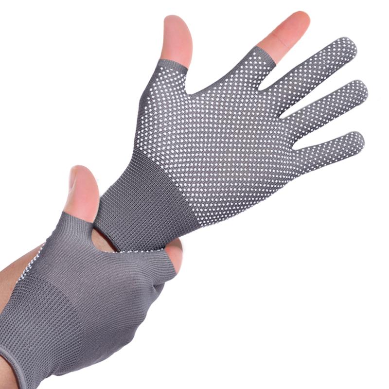 夏季薄款手套防晒男女短款骑行骑车防滑户外登山运动透气开车触屏