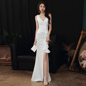 白色晚礼服裙女2020新款气质宴会高贵性感鱼尾名媛年会高级质感夏