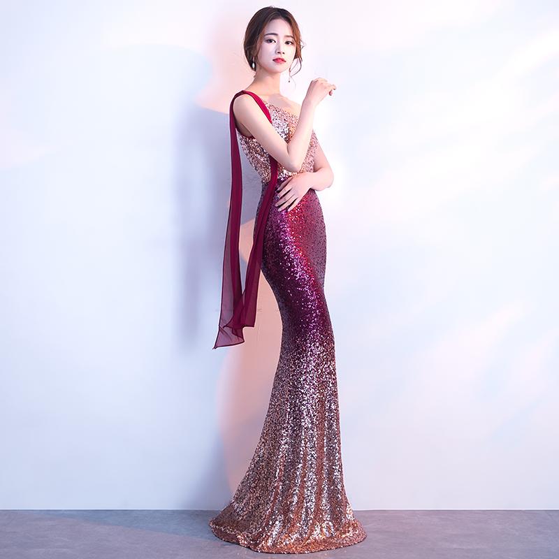 晚礼服女2018新款宴会高贵优雅亮片鱼尾裙性感修身长款名媛主持人