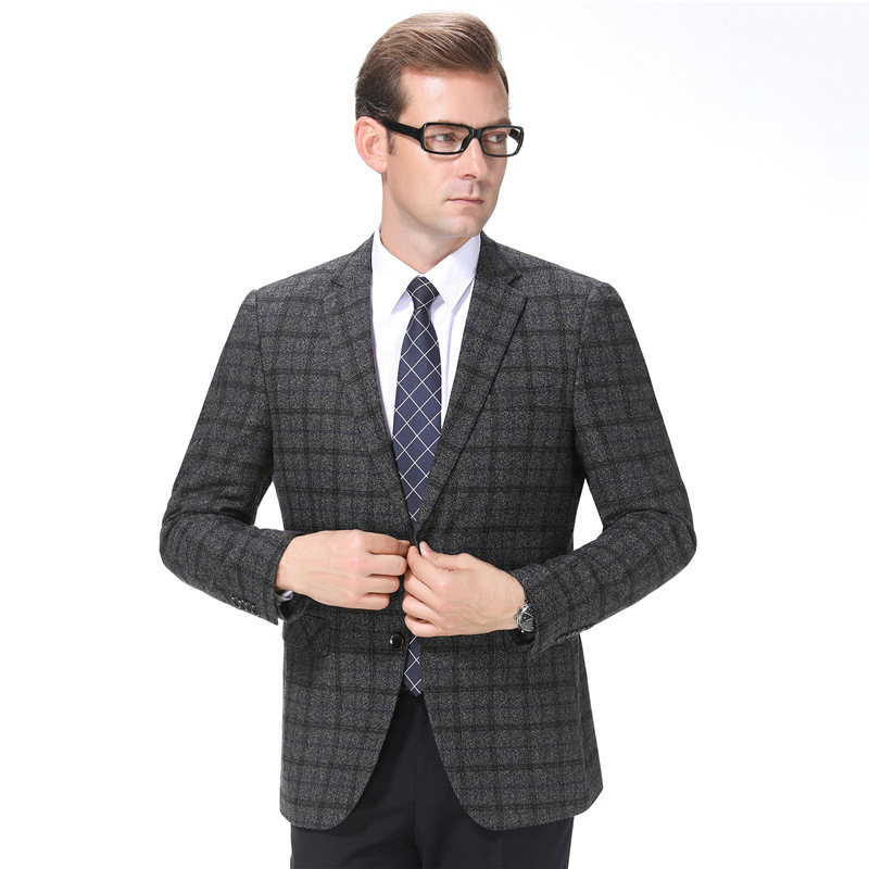 New limited brand mens leisure suit autumn and winter middle-aged mens fathers Plaid single suit coat