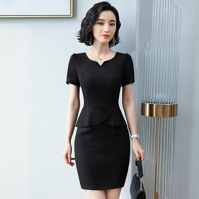 新款促销夏季年美容院气质职业连衣裙假两件珠宝店工作服女欧安娜