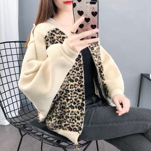 仿水貂绒豹纹外套女春秋女士短款2021年新款蝙蝠袖针织衫毛衣开衫