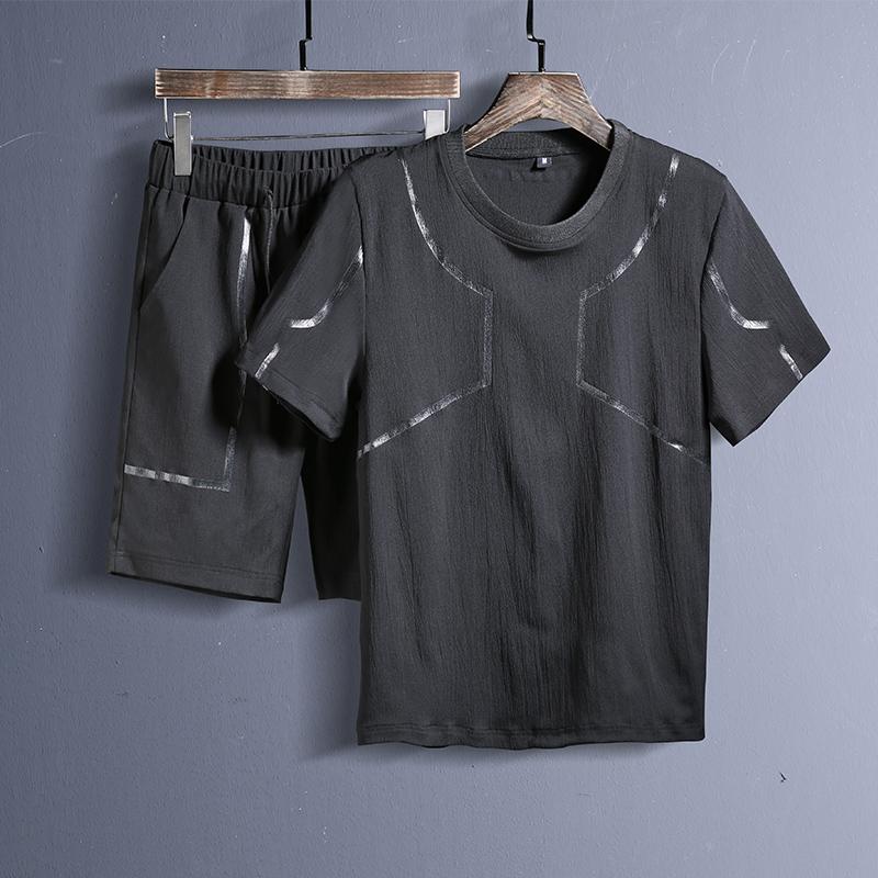 爆18夏季套装男t恤潮新款衣服半袖体恤两件套 黑色 B205-TZ85-P48