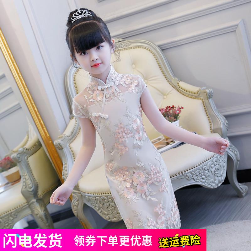 女童旗袍2018新款夏季古筝演出服儿童民族风公主裙宝宝小孩中国风