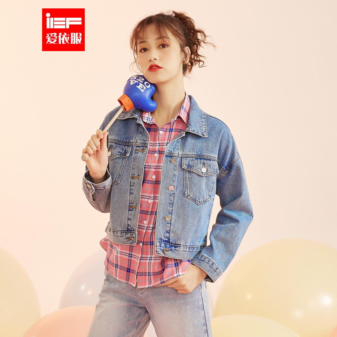 IEF/爱依服牛仔外套女短款2020冬春新款韩版学生宽松百搭时尚上衣图片