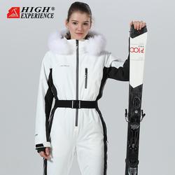 户外女式连体单板双板修身滑雪服