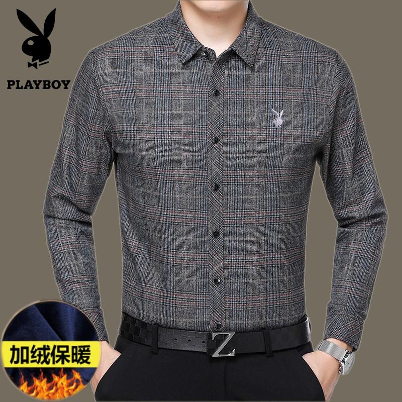 冬季男士保暖衬衫长袖中年纯棉格子寸爸爸装加绒加厚休闲父亲衬衣