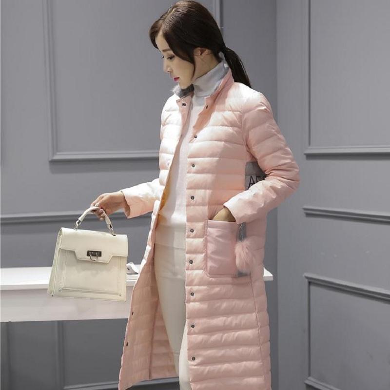 纽菡冬季新款中长款毛球羽绒服女字母印花立领修身过膝轻薄外套