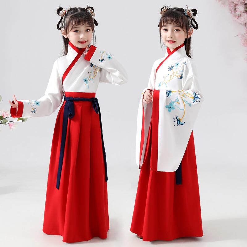 女童汉服中国风儿童古装襦裙小女孩古风唐装2019年-儿童汉服(洛芳菲旗舰店仅售145元)