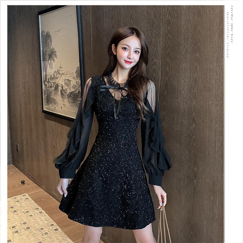 蕾丝连衣裙女心机气质名媛秋冬小个子内搭赫本设计感打底风小黑裙