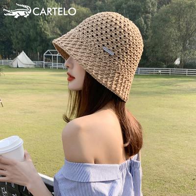 卡帝乐鳄鱼女潮春夏渔夫帽子时尚韩版百搭遮阳防晒太阳针织水桶帽